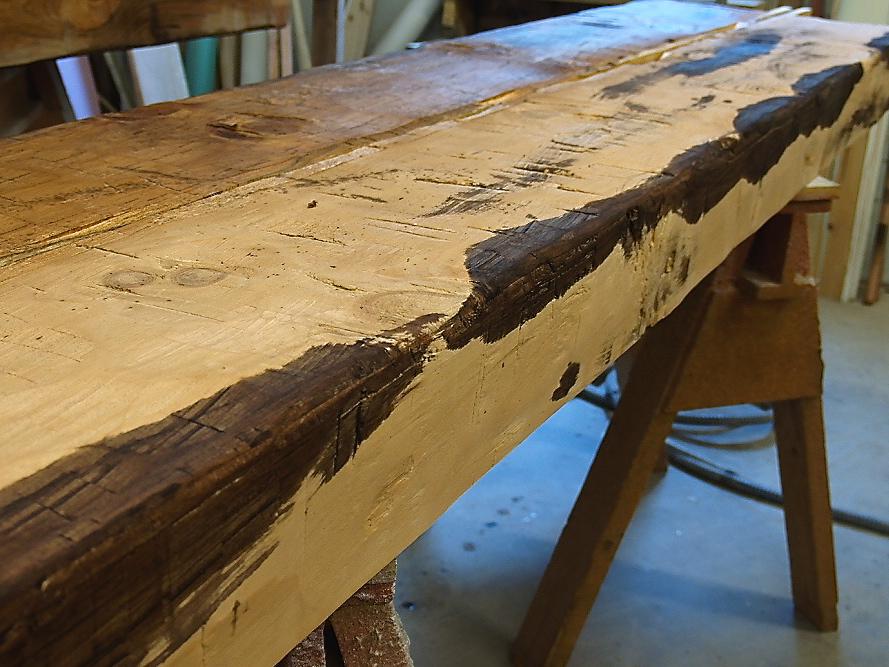 One Dark Wooden Beam ~ Hollow beam after spot staining wunderwoods