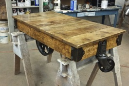 WunderWoods refinished Nutting maple factory railroad lumber cart